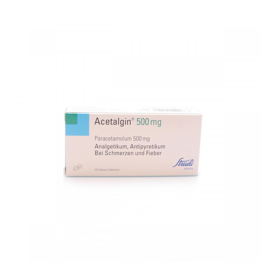 Hier sehen Sie den Artikel ACETALGIN Tabl 500 mg 20 Stk aus der Kategorie Medikamente der Liste D. Dieser Artikel ist erhältlich bei apothekedrogerie.ch