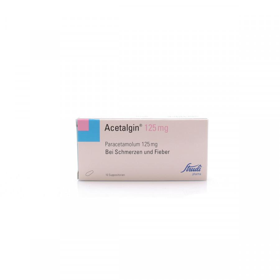 Hier sehen Sie den Artikel ACETALGIN Supp 125 mg 10 Stk aus der Kategorie Medikamente der Liste D. Dieser Artikel ist erhältlich bei apothekedrogerie.ch