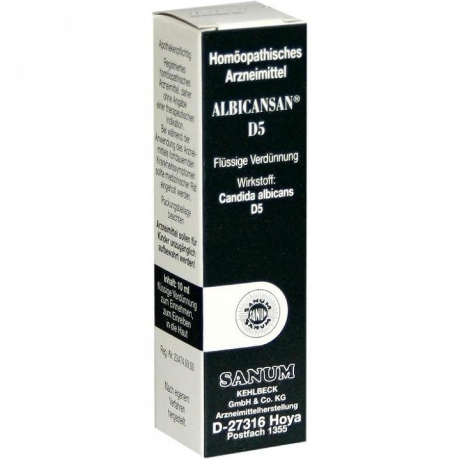 Hier sehen Sie den Artikel ALBICANSAN Tropfen D 5 Fl 10 ml aus der Kategorie Medikamente der Liste D. Dieser Artikel ist erhältlich bei apothekedrogerie.ch