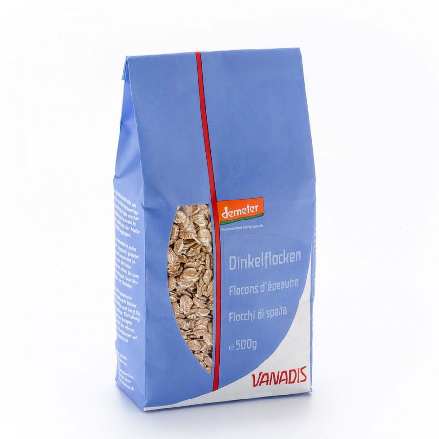 Hier sehen Sie den Artikel VANADIS Dinkelflocken Demeter Btl 500 g aus der Kategorie Getreide und Hülsenfrüchte. Dieser Artikel ist erhältlich bei unseredrogerie.ch