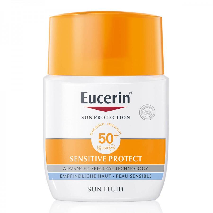 Hier sehen Sie den Artikel EUCERIN SUN Sensitive Protect Fluid LSF50+ 50 ml aus der Kategorie Sonnenschutz. Dieser Artikel ist erhältlich bei unseredrogerie.ch