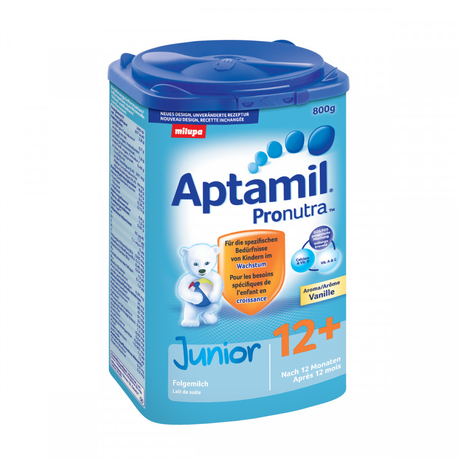 Hier sehen Sie den Artikel MILUPA Aptamil Junior 12+ Vanille EaZypack 800 g aus der Kategorie Milch und Schleim. Dieser Artikel ist erhältlich bei unseredrogerie.ch