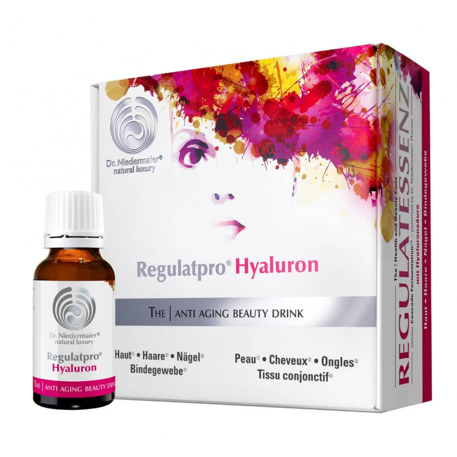Hier sehen Sie den Artikel REGULATPRO Hyaluron 20 x 20 ml aus der Kategorie Kurmittel/Nahrungsergänzung. Dieser Artikel ist erhältlich bei unseredrogerie.ch