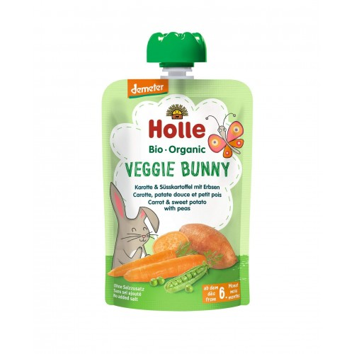 HOLLE Veggie Bunny Pouchy Karotte Süsskartoffel Erbsen 100 g