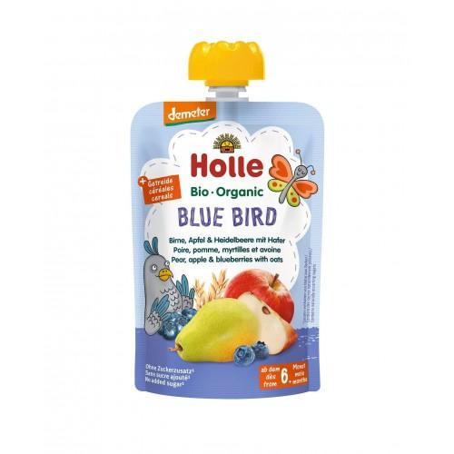HOLLE Blue Bird Pouchy Birnen Apfel Heidelbeer Hafer 100 g