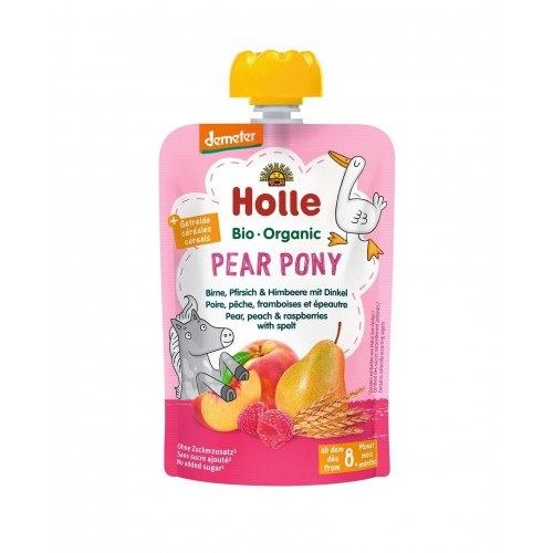 HOLLE Pear Pony Pouchy Birne Pfirsich Himbeer Dinkel 100 g