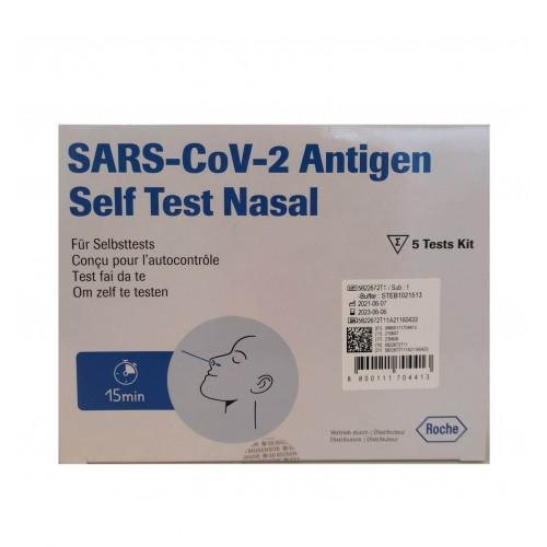 ROCHE SARS CoV-2 AG PST Test Nasal 5 Stk Corona Selbsttests
